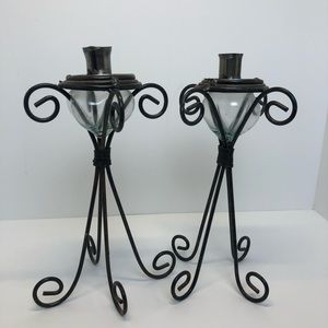 Set of 2 Metal & Glass Candlestick Holders